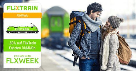 Flixweek: 50% auf Flixtrain Tickets am Di, Mi oder Do