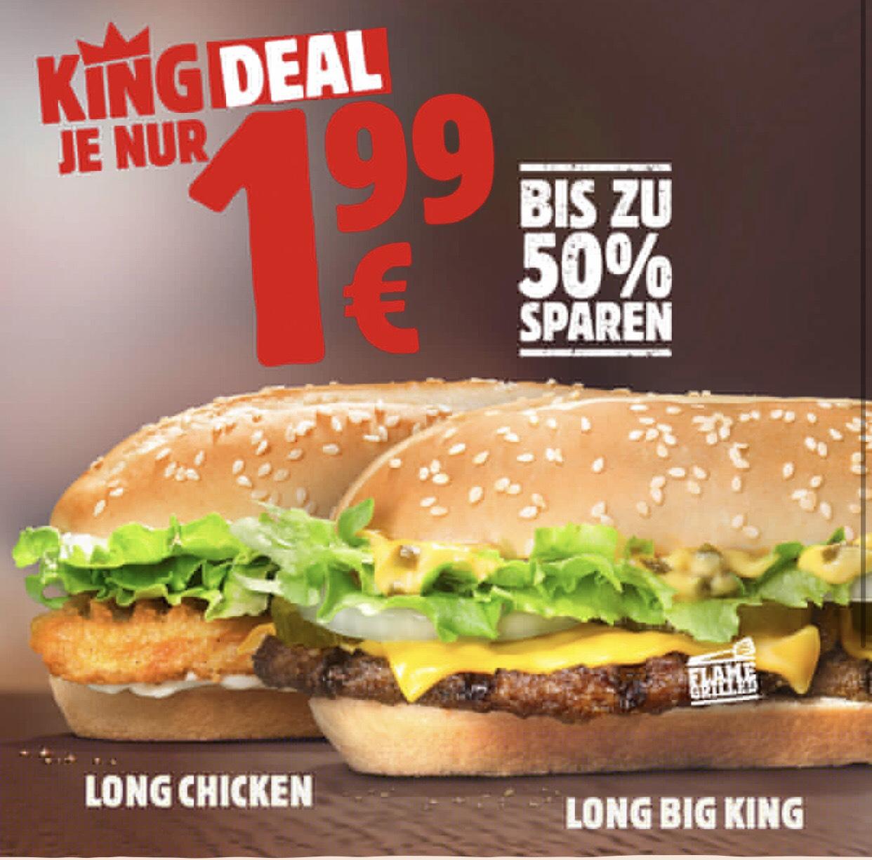 [Burger King] Long Big King und Long Chicken für je 1,99€, Chili Cheese Pommes 1,49€ und 'nen Shake für 99ct