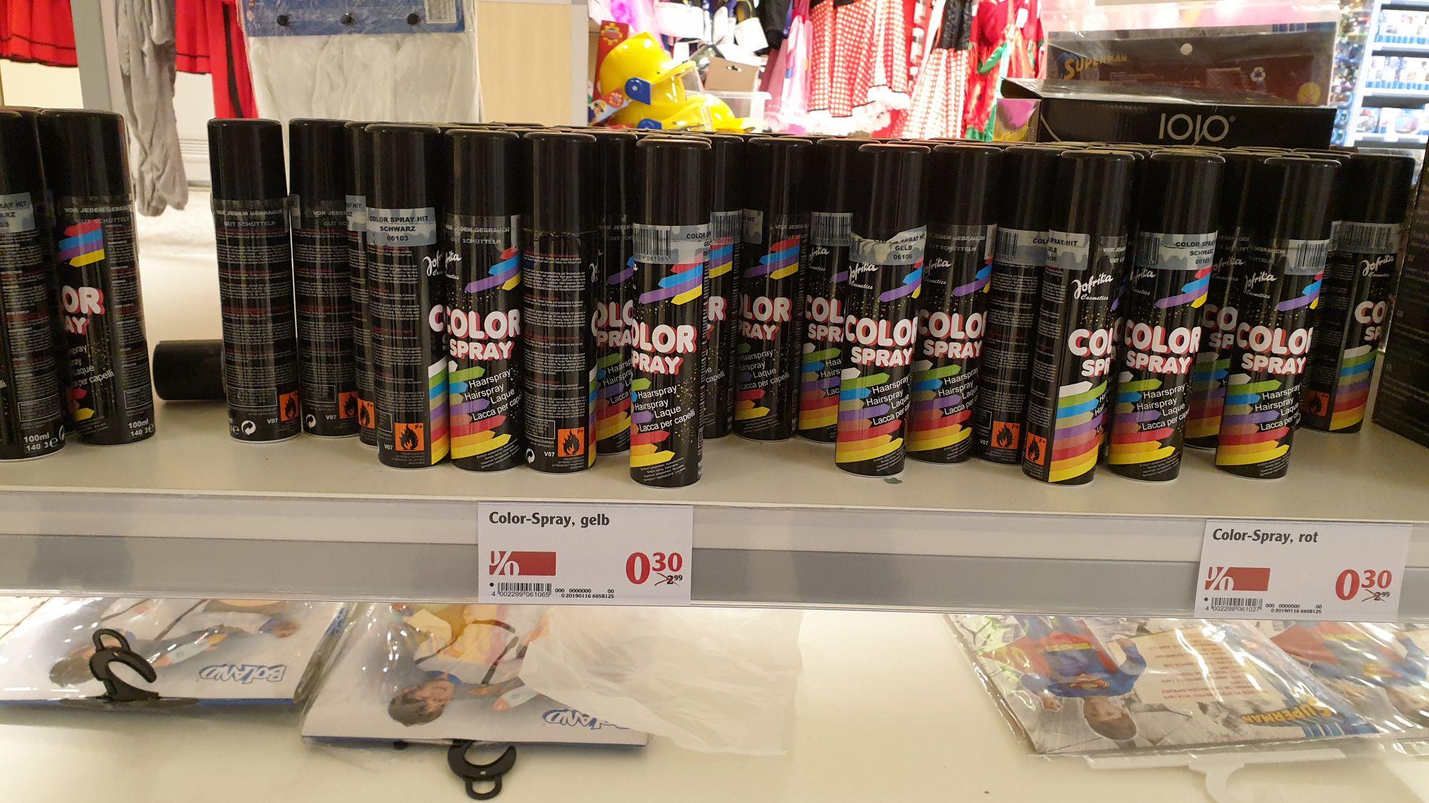 [OFFLINE: Globus] Fasching Color Haarspray nur 0,30 € pro Dose