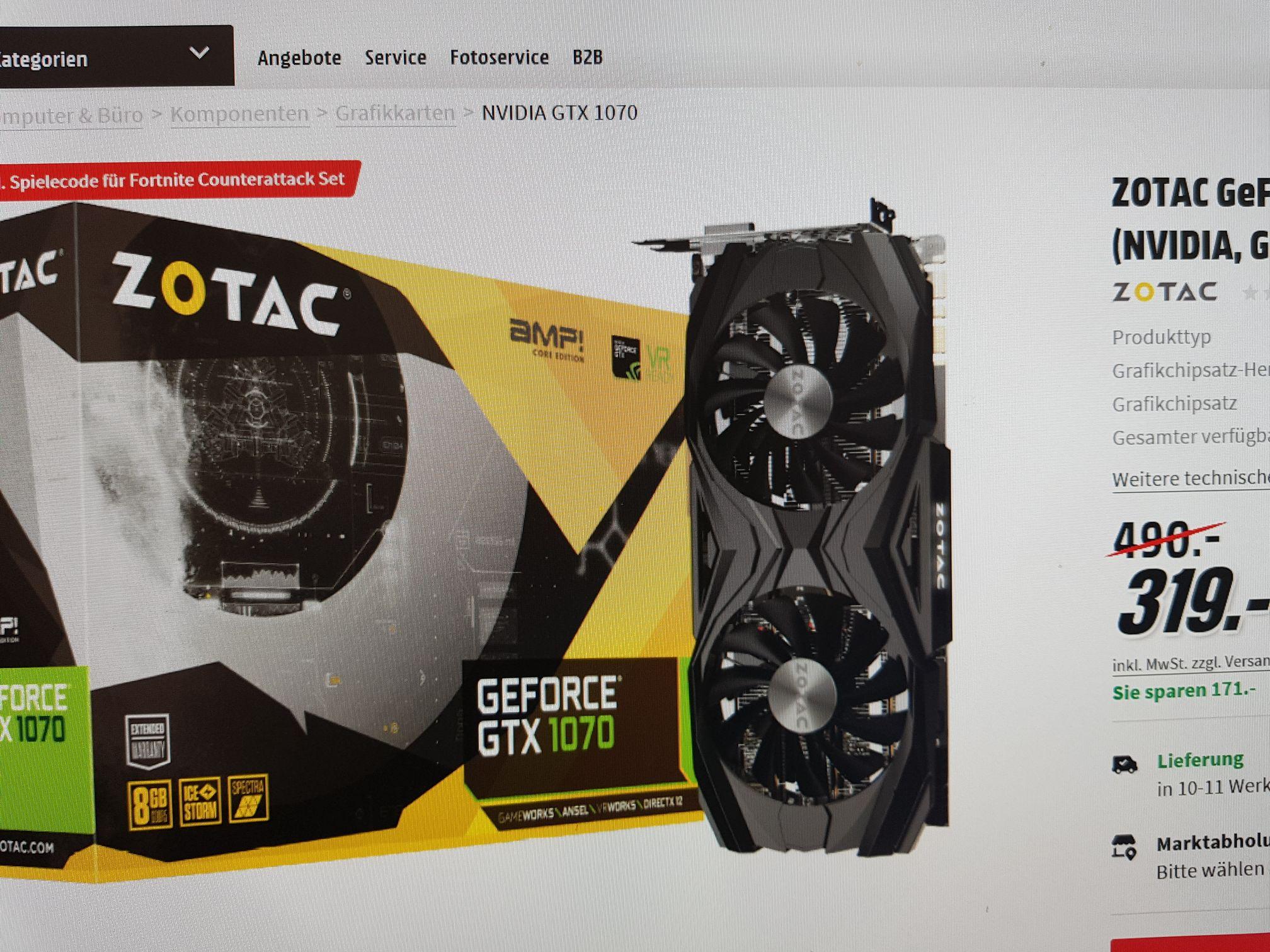 Zotac GeForce GTX 1070 AMP Core
