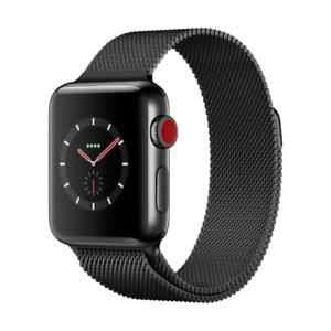 [Cyberport] Apple Watch Series 3 LTE 38mm Edelstahlgehäuse Space Schwarz Milanaise Schwarz