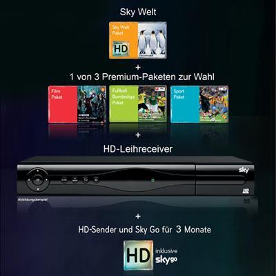 12-Monats-Abonnement bei Sky mit Sky Welt + 1 Premium-Paket  + 3 Monate HD + 3 Monate Sky Go für 19,90 €