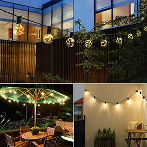 MYCARBON  LED Lichterkette außen G40 mit 36 Birnen, 12,5 m, IP44 , für innen/außen, warm weiß m. Timer für 19,49€ mit Prime