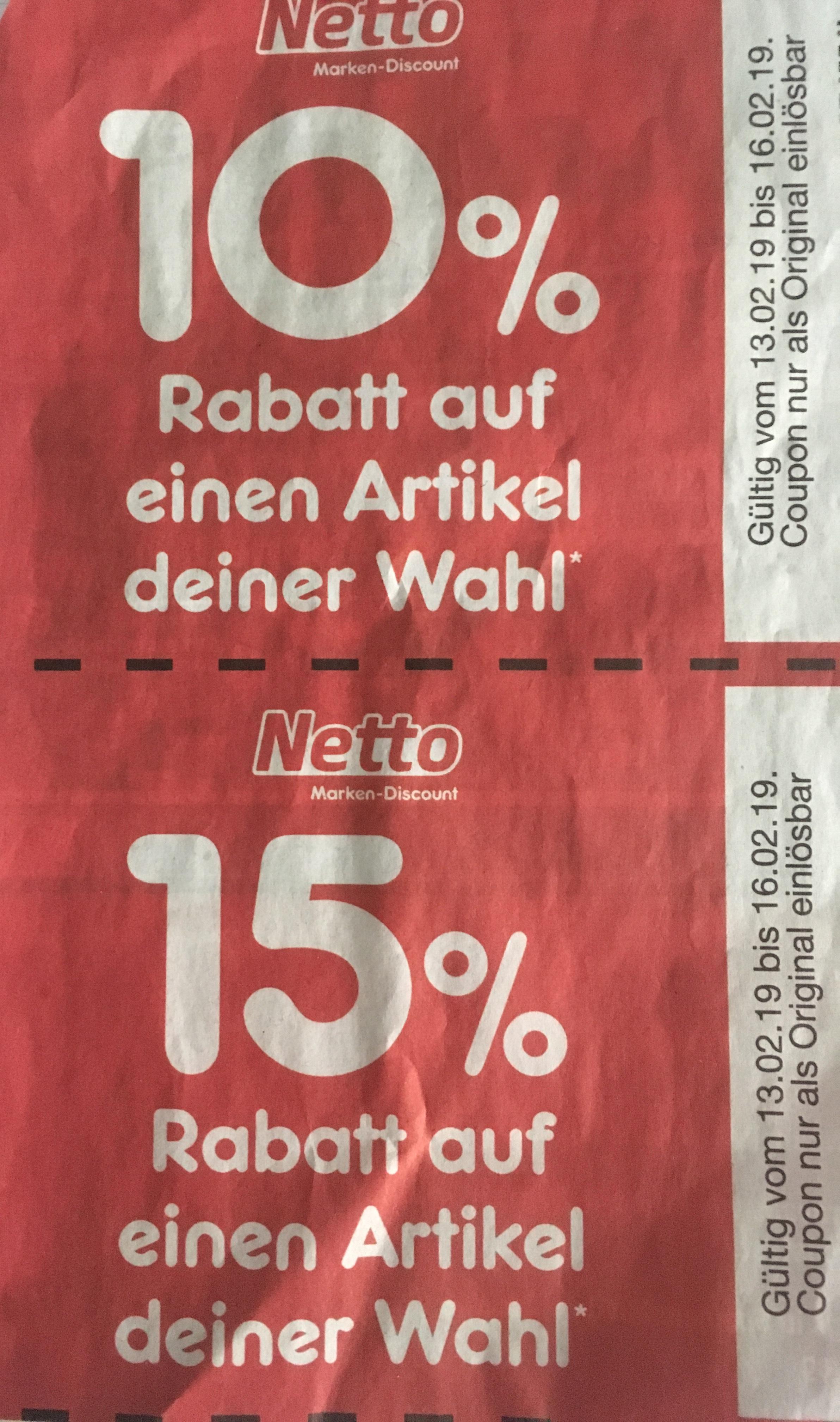 10% & 15% Netto MD Gutschein/ Coupon in der heutigen BILD mit Beispielen