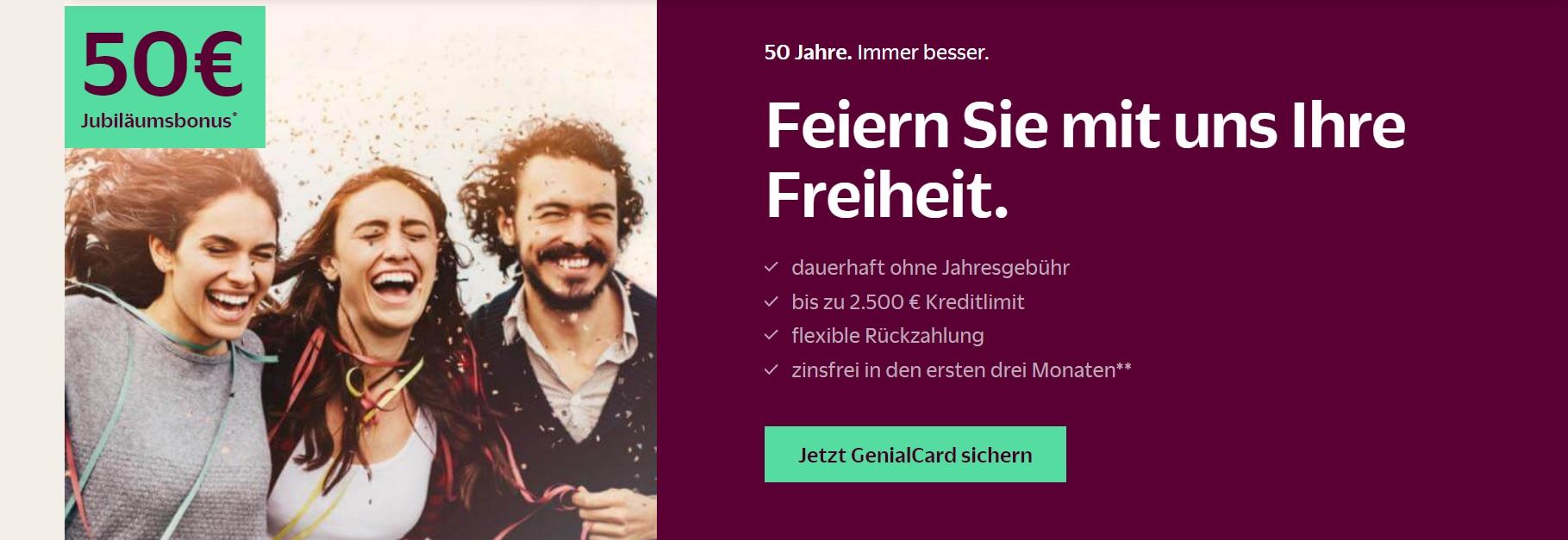 [Questler.de] Hanseatic Bank GenialCard Visa ( Keine Jahresgebühr, 3 Monate zinsfrei, Apple Pay) 50 € Startguthaben + 20 € Cashback