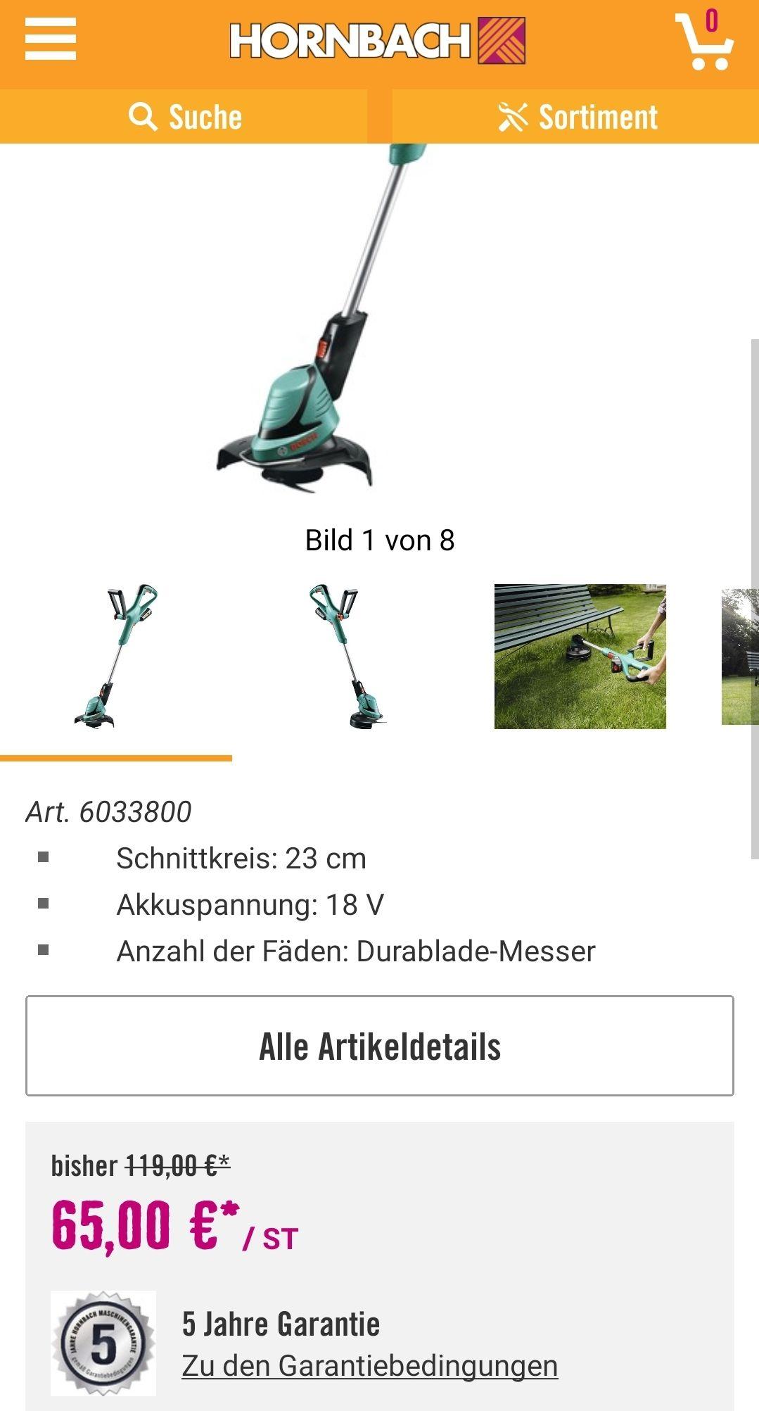 Akku- Rasentrimmer BOSCH ART 23-18 Li inkl. Akku und Ladegerät Hornbach Lokal Datteln