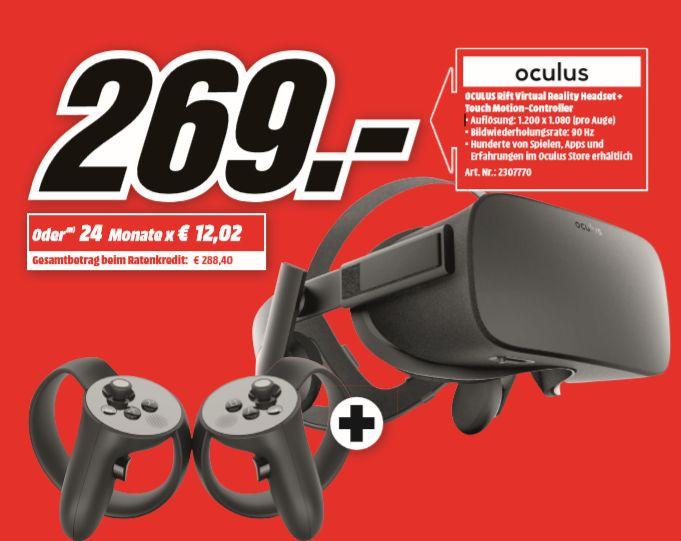 [Regional Mediamarkt Leipzig] OCULUS Rift Virtual Reality Headset + Touch Motion-Controller, Virtual Reality Brille, Schwarz für 269,-€