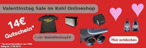 14 Euro Rabatt auf alle Harley, MINI, Touratech & BMW Teile zum Valentinstag im KOHL Online Shop