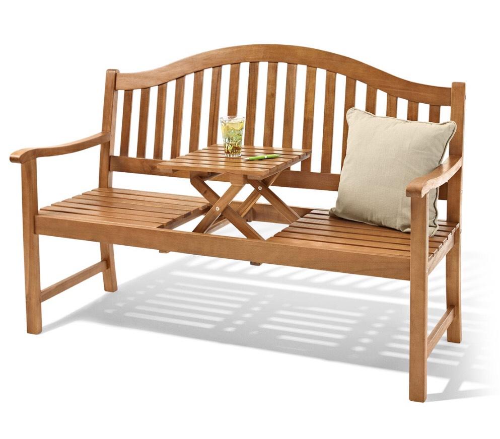 3-Sitzer Gartenbank Bank mit hochklappbarem Tisch Sitzbank Massiv aus Holz. Aus hochwertigem Akazienholz für 111,11€