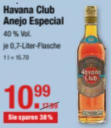 Havana Club Anejo Especial Rum, 0,7L für 10,99 € @  V-Märkte München/Schwaben und Oberbayern ab 21.2.