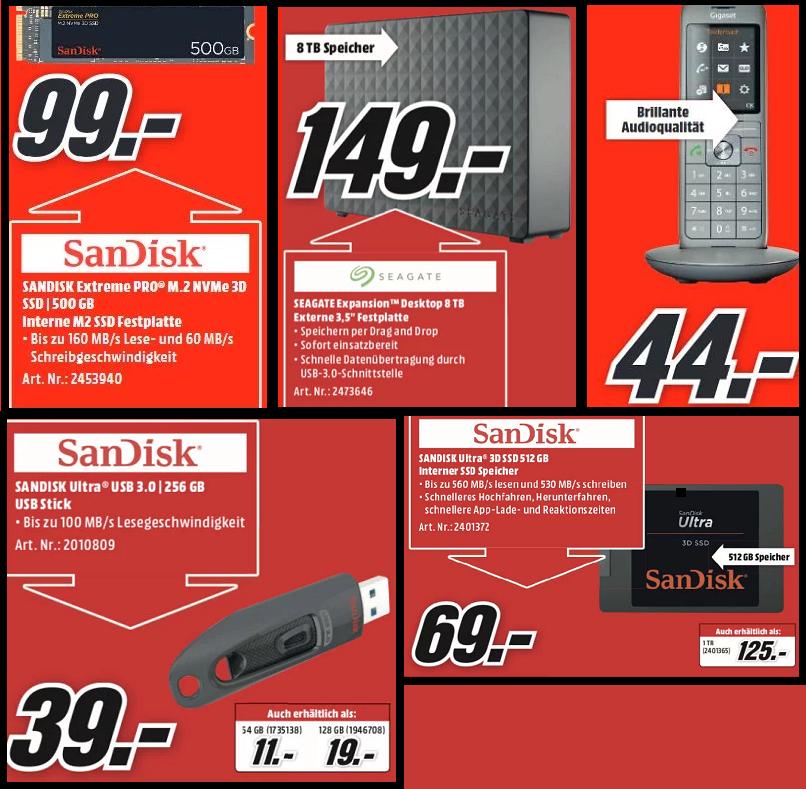 Sandisk Extreme Pro 500GB M2 NVMe SSD | Seagate Expansion 8TB für149€ | Sandisk Ultra USB3.0 256GB für 39€ | Ultra 3D 512GB SSD für 69€ u.a.