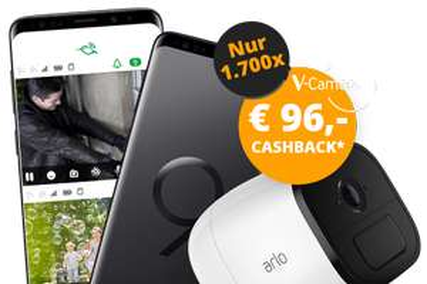 Samsung Galaxy S9+ inkl. Netgear V-Camera Arlo Go (Wert 279€) + 96€ Cashback im Vodafone Smart L+ (7GB LTE bzw. 12GB LTE) für mtl. 36,99€