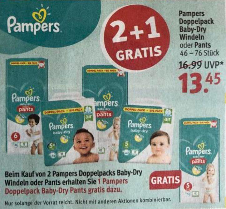 Rossmann Pampers reduziert & 2+1 Gratis Angebot