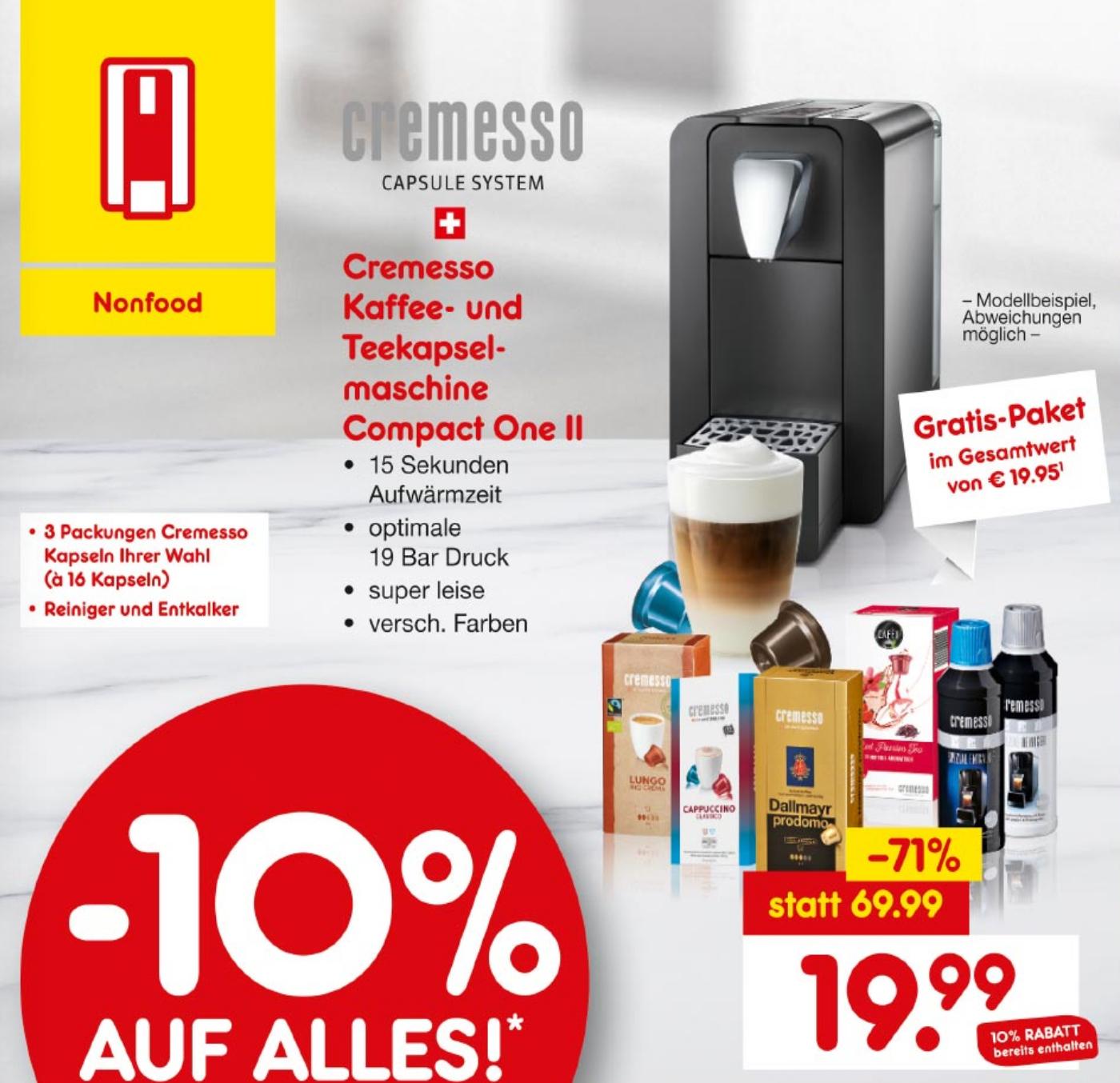 Cremesso Compact One II Kaffee- und Teekapsel-Maschine inkl. 48 Kapseln nach Wahl // und 10% Auf Alles [Lokal Netto Braunschweig Nordstraße]