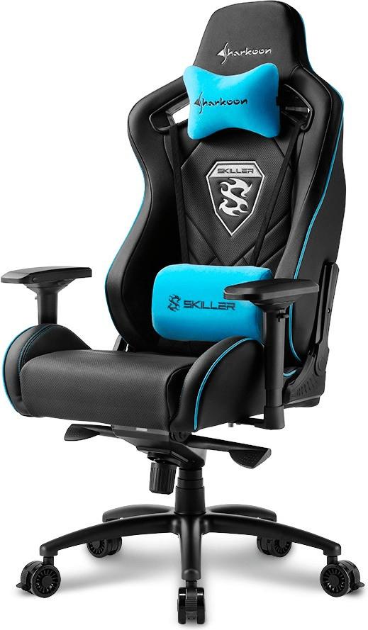 [NBB Hannover/Laatzen] Gaming-Stuhl Sharkoon Skiller SGS4 (Kopfkissen, Lendenkissen, Wippfunktion, neigbar um 160°, 150kg Belastbarkeit)