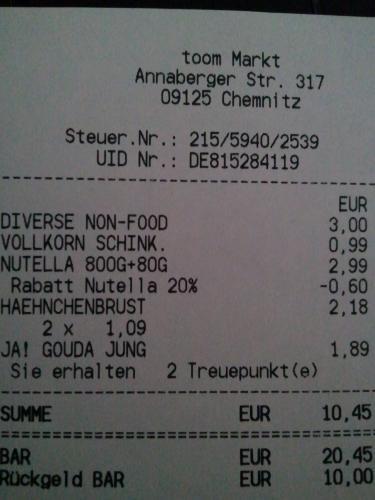 Nutella 880g für 2,39 EUR im toom Chemnitz ACC