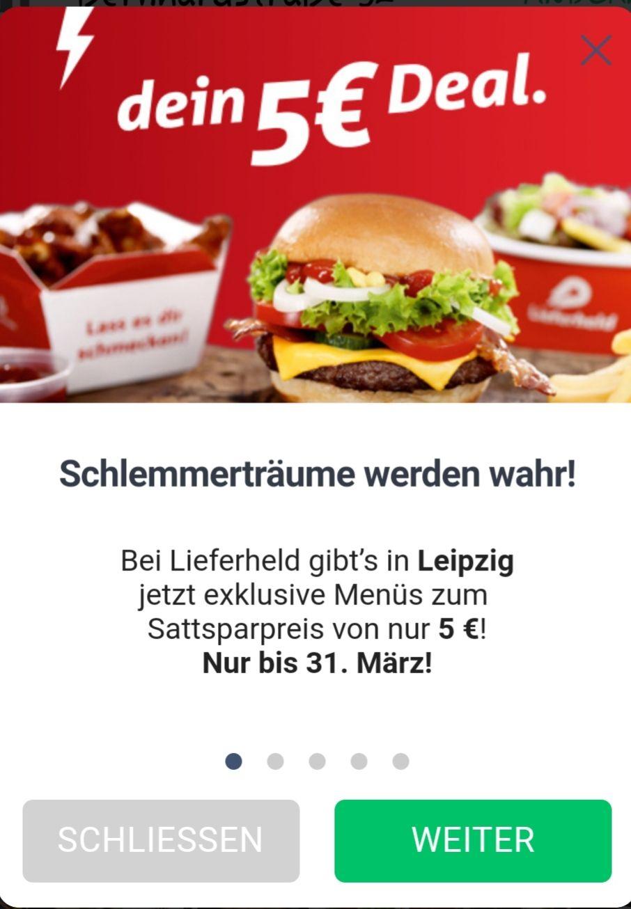 [lokal Leipzig] Lieferheld - 5€ Menüs
