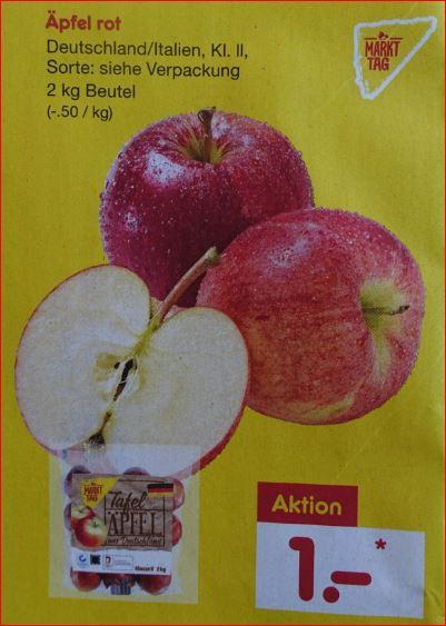 2 kg Äpfel für 1 Euro / 4 kg Orangen für 1,99 Euro / 125g Himbeeren für 99 Cent [ Netto MD ]