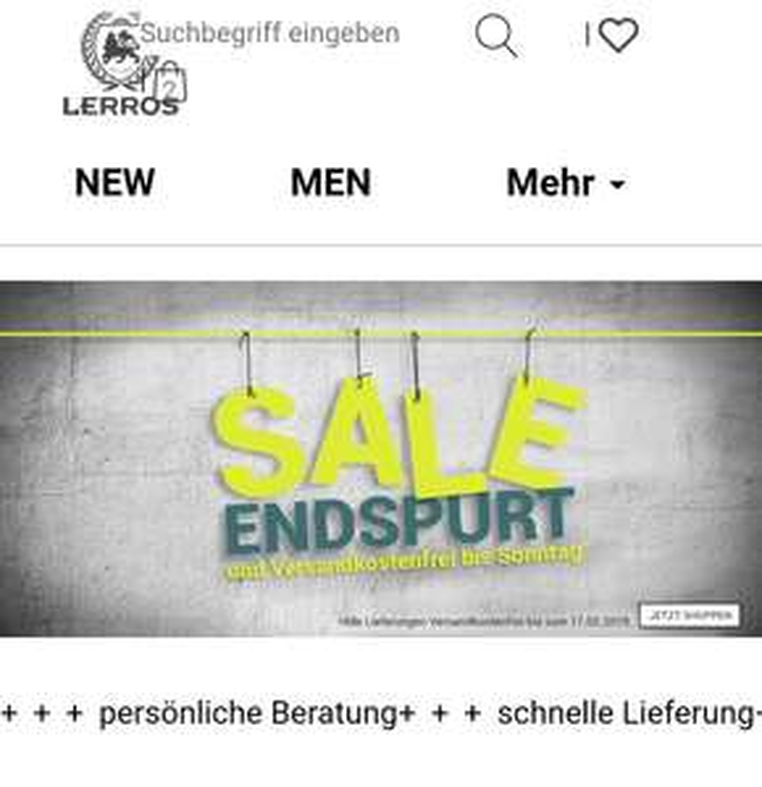 Lerros Neukunden 10€ Newsletter Gutschein ohne MBW + kostenloser Versand