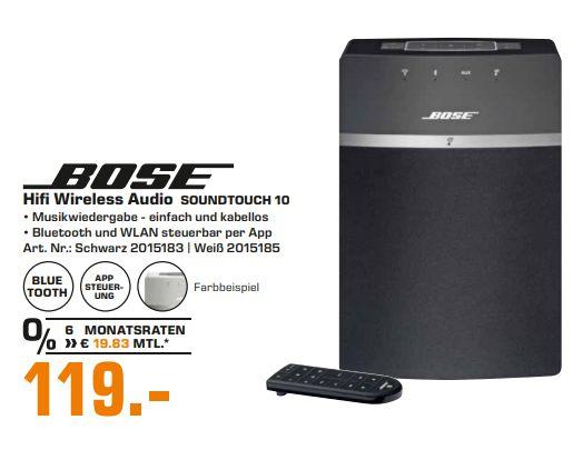 [Regional Saturn Gummersbach] BOSE SoundTouch 10, Streaming Lautsprecher, Schwarz für 119,-€*Evtl. auch in allen Bose Stores Bundesweit*