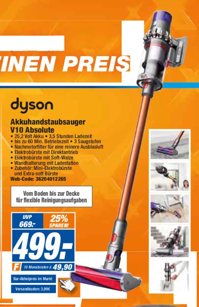 Dyson V10 Absolute 499€ statt 599€