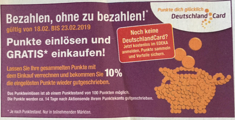 [Lokal Nordbayern - DeutschlandCard bei EDEKA] Mit Punkten bezahlen und 10% Bonus in Punkten erhalten