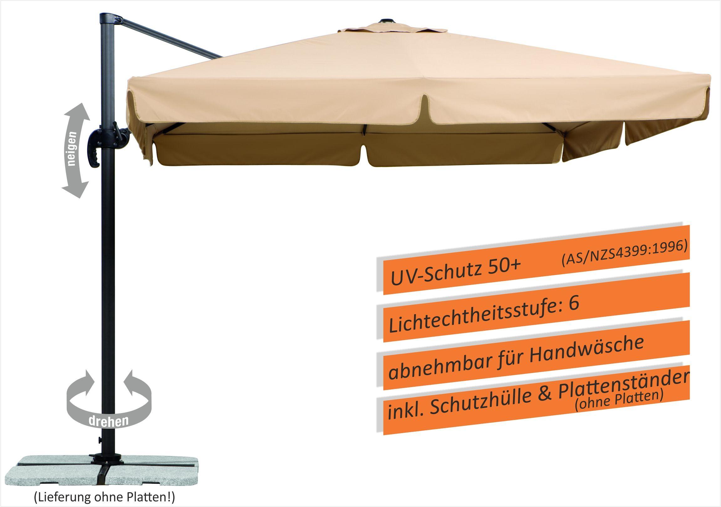 Sonnenschirm Schneider Rhodos sand 300x300cm Ampelschirm
