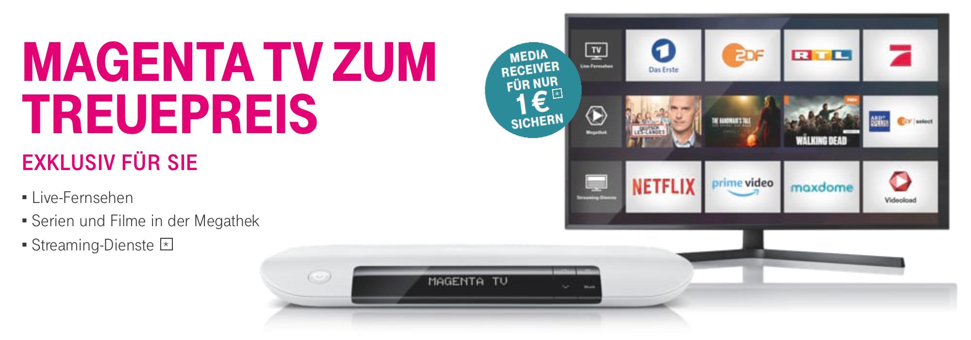 Magenta TV Media Receiver 401 für 1 EUR bei Abschluß eines Magenta TV Vertrags (eventuell nur Bestandskunden)