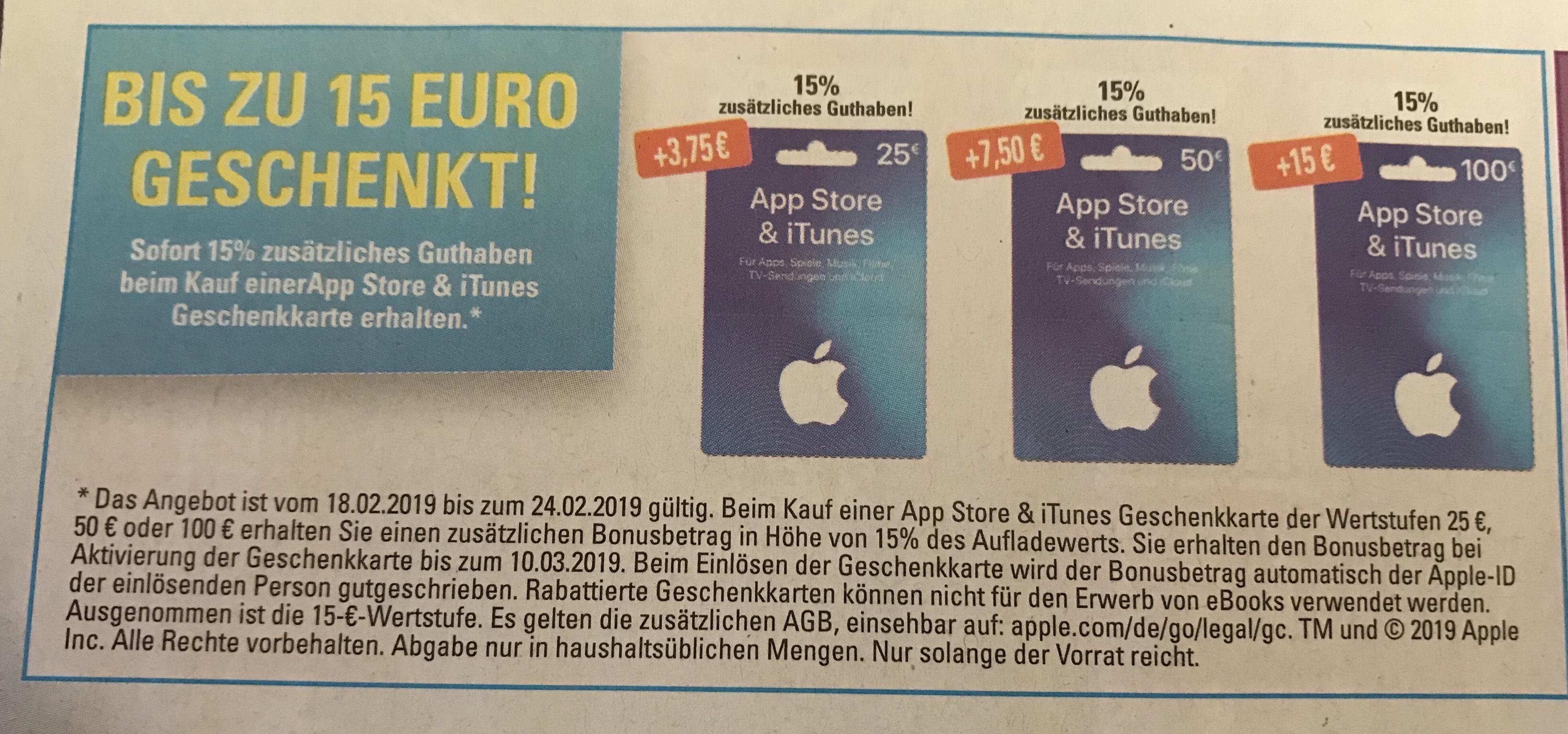 15% zusätzliches Itunes Guthaben bei Edeka ab 18.02.2019