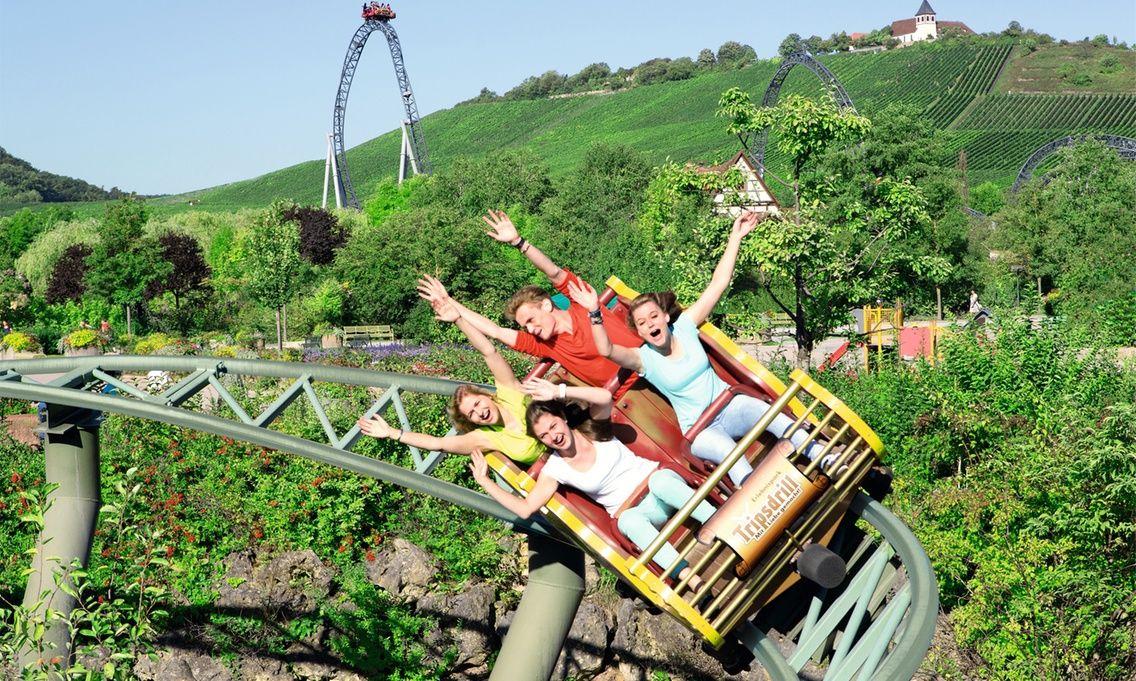 Erlebnispark Tripsdrill Eintrittskarte inkl. Essen, Getränk und Souvenirglas bei Groupon