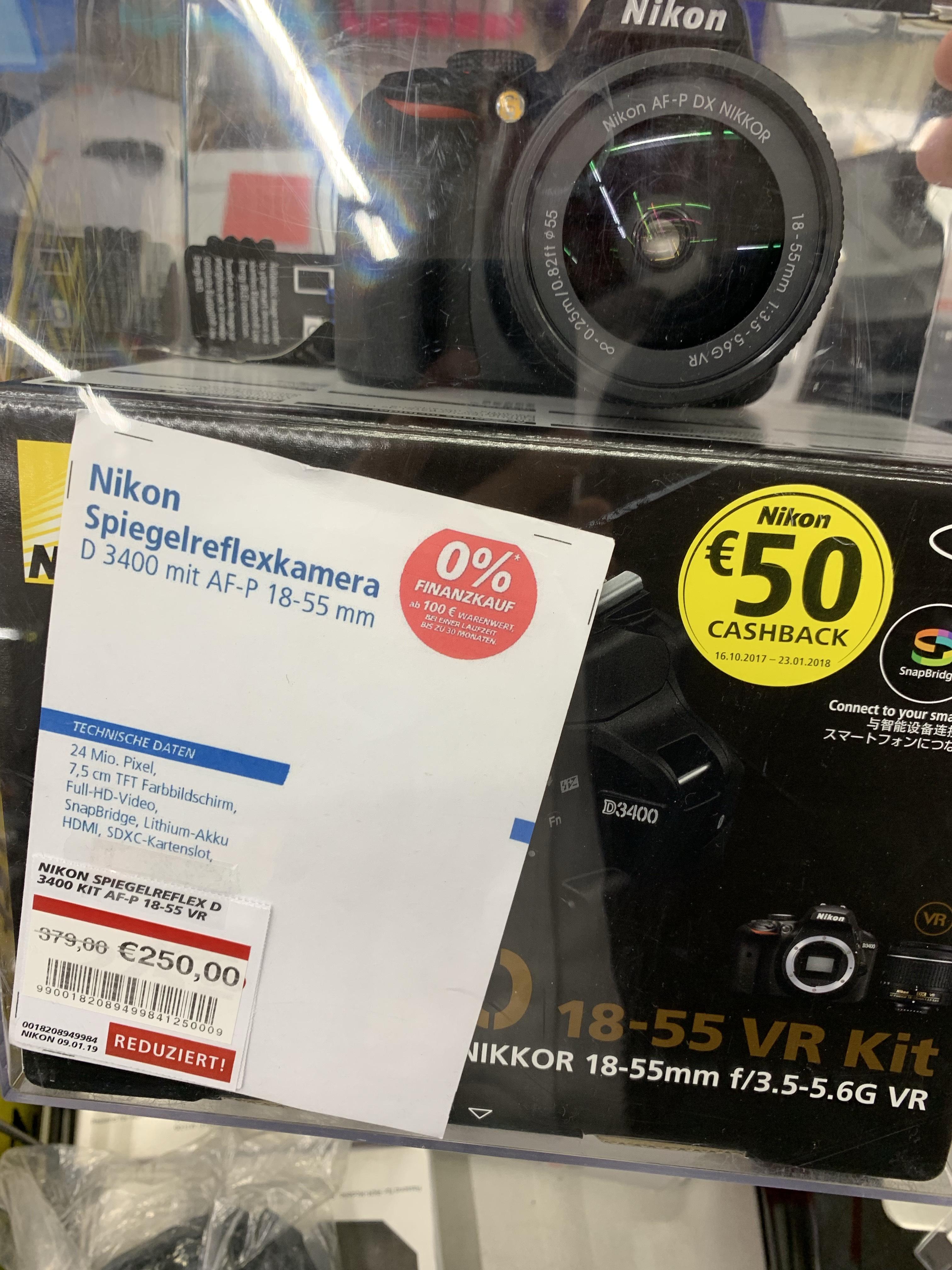 Restposten Nikon D3400 Kit 18-55 mm für 250,- Euro Lokal real Markt Gütersloh