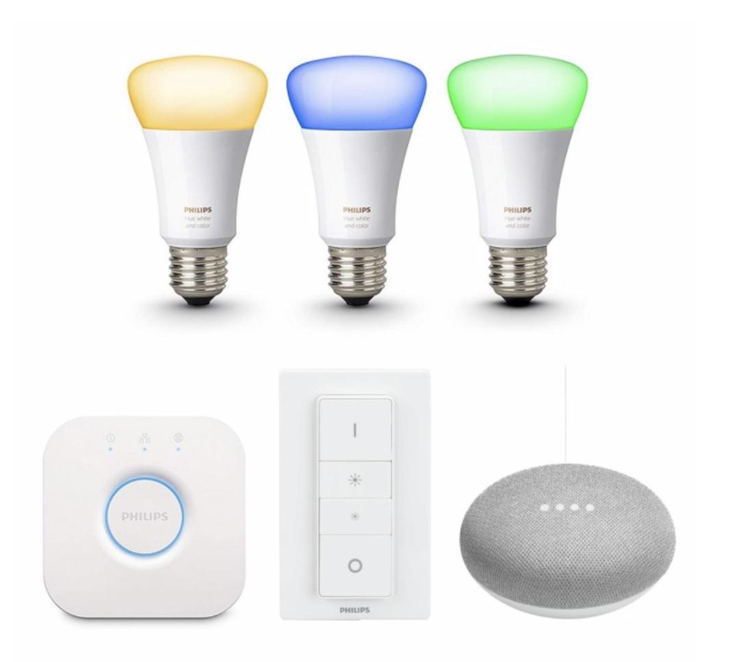 [Vattenfall-Kunden Tink] Philips Hue White and Color Ambiance E27 4G 3er Starter Kit + Schalter + gratis Google Home Mini