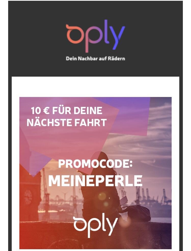 Oply 10€ Gutschein für die nächste Fahrt