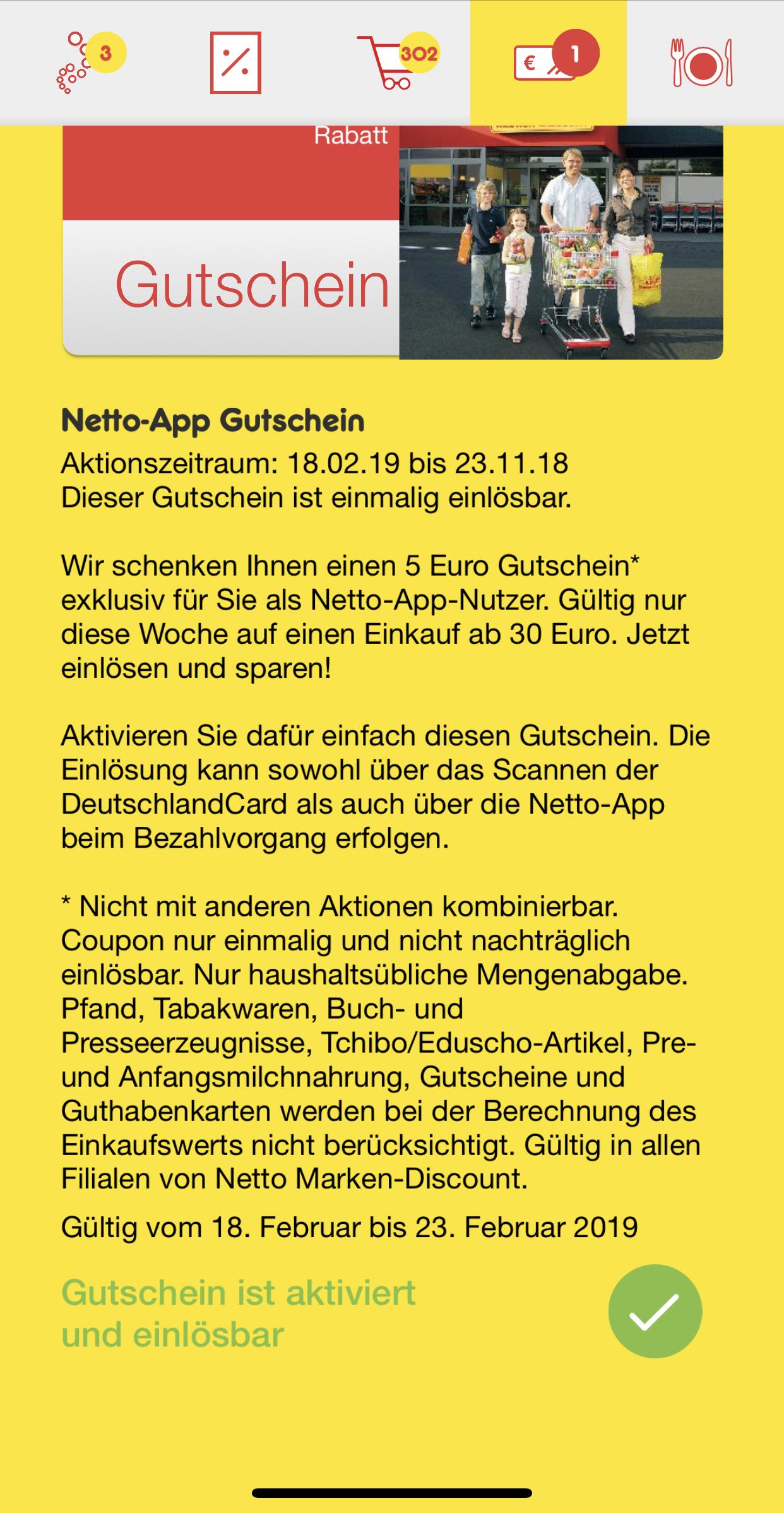 5€ Gutschein für Netto-App-Nutzer (MBW 30€) [Netto MD]