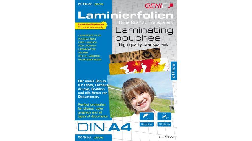 GENIE DIN A4 Laminierfolien 50er-Pack (125 Mic) für 6,99€ , 100er-Pack (80 Mic) für 7,99€ [MÜLLER]