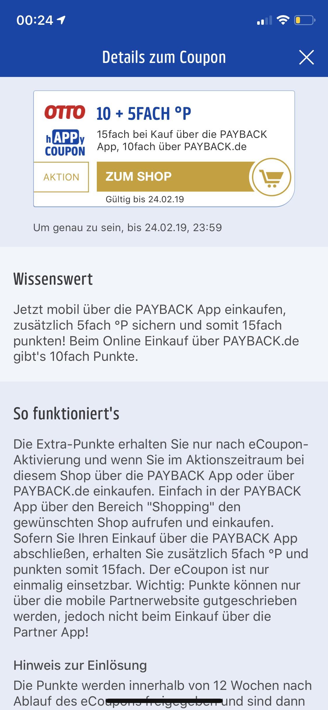 Payback 10-15 Fache P für Otto