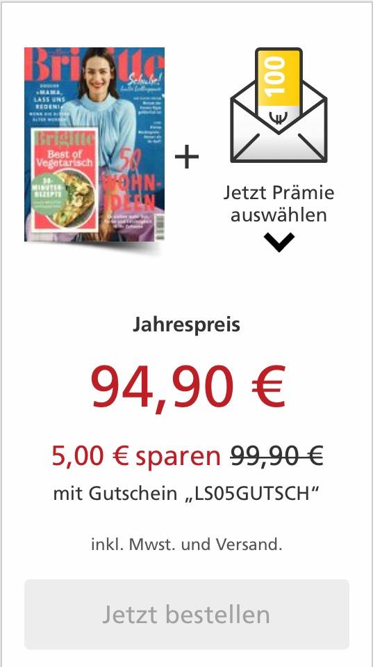 12 Monate Brigitte im Abo und 90€ Amazon, 90€ Bestchoice oder 100€ Otto Gutschein oder 8500PP (kündigen nicht vergessen)