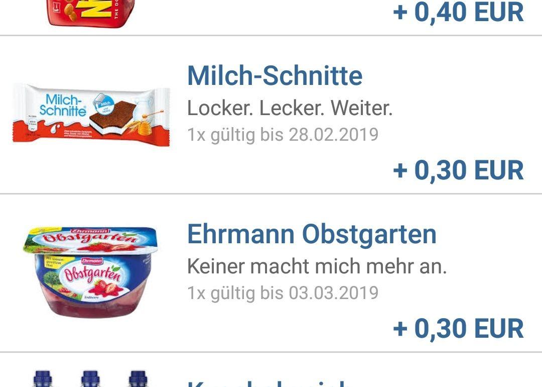 [Netto MD+Reebate] 2 Freebies: Ehrmann Obstgarten und Milchschnitte dank insgesamt 0,60€ Cashabck