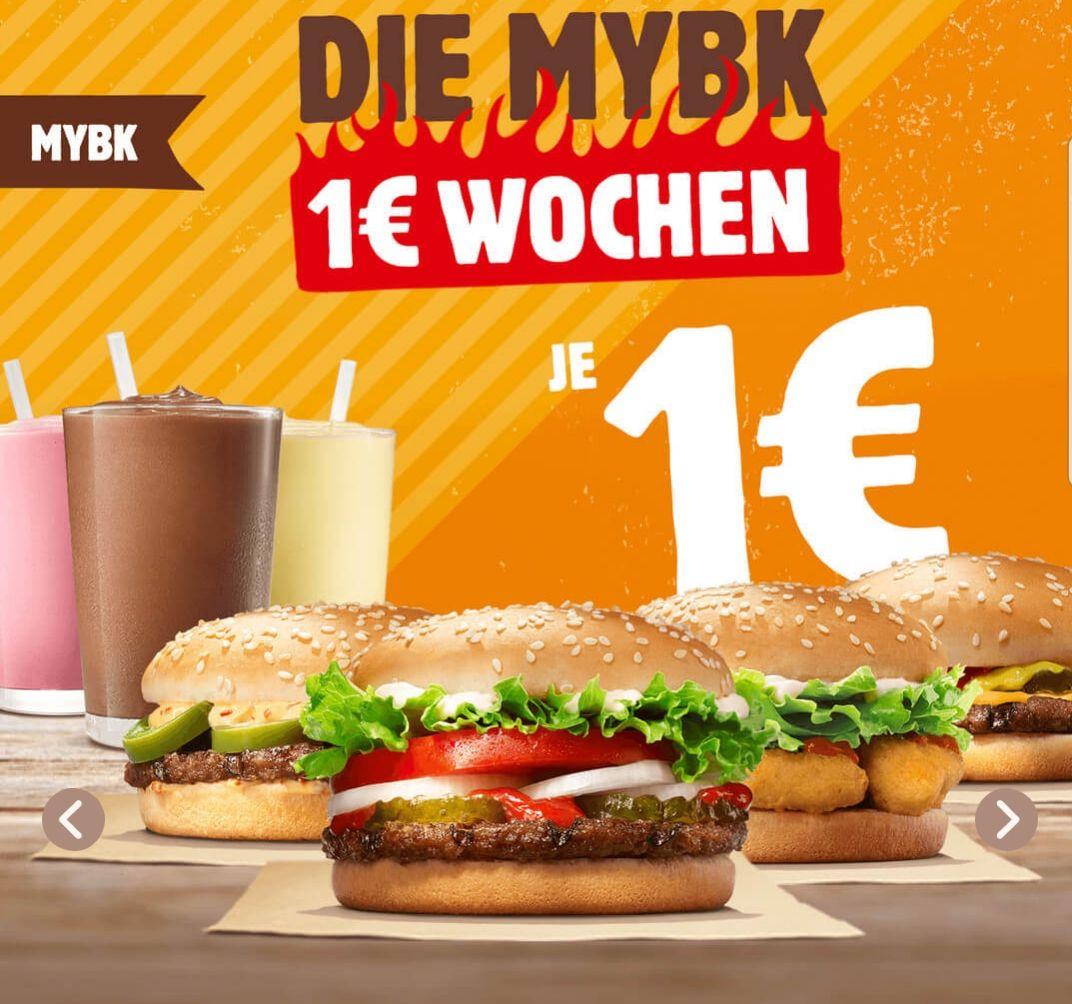 Burger King App: 5 Produkte nur je 1€ (Whopper Jr., Cheeseburger, Chicken Nugget Burger, Chili Cheese Burger, King Shake Small)