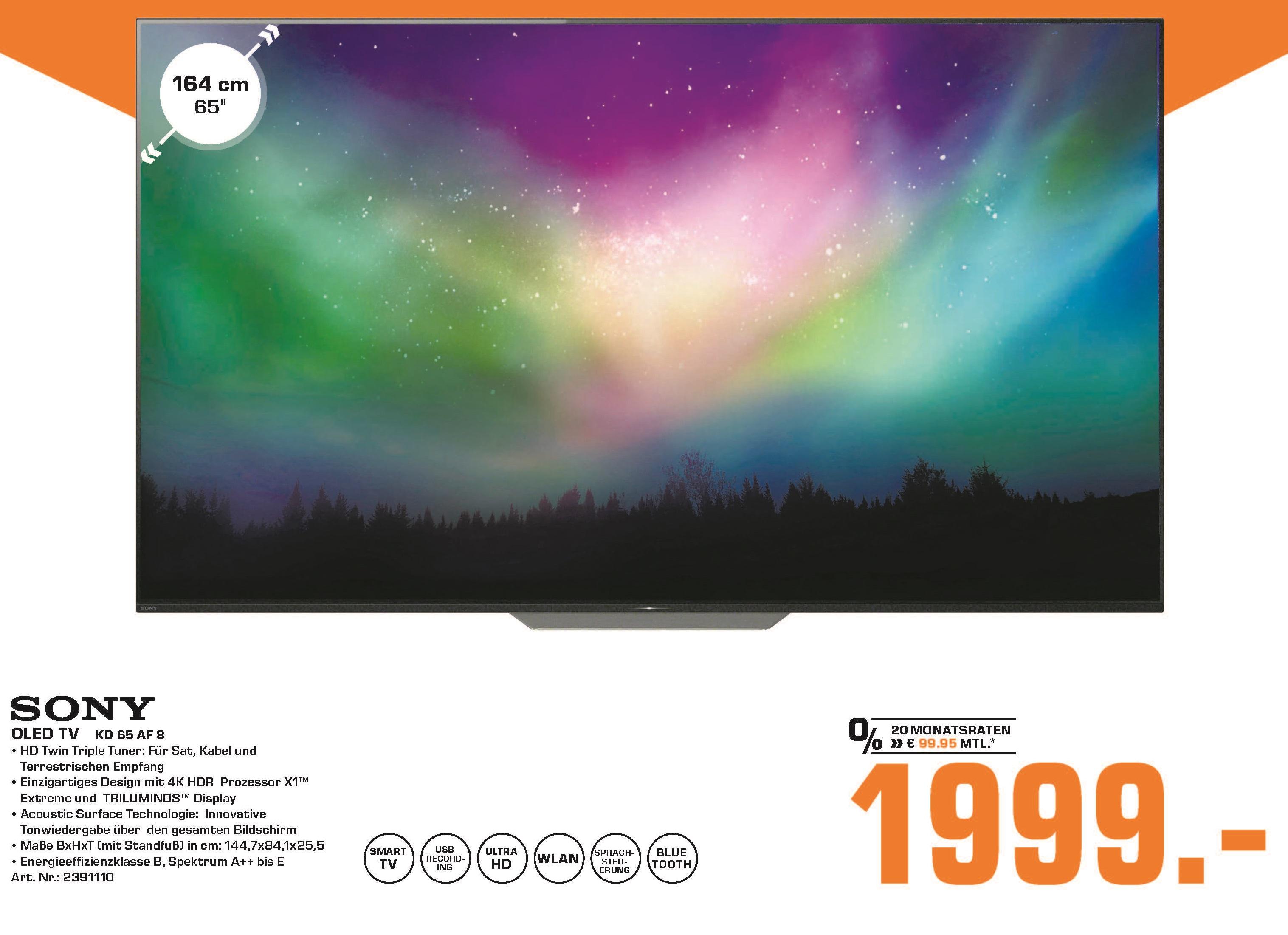 "[Lokal: Saturn Duisburg] Sony KD-65AF8 65"" OLED TV | PANASONIC TX-55FZW804 für 1.499€ | Miele WDB330 WPS Waschmaschine für 749€"