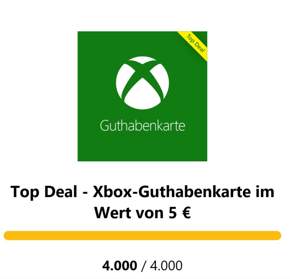 5€ Xbox - Guthaben für 4000 Microsoft-Rewards Punkte anstatt 5000 Punkte