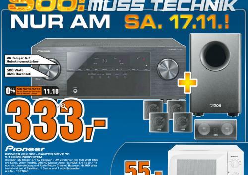 Pioneer VSX 322 inkl. Canton Movie 70 für nur 333 Euro; offline @ Saturn Celle am 17.11.12