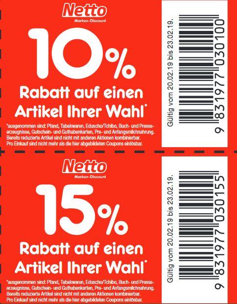 [Bundesweit - Netto Marken-Discount] 10% bzw. 15% Gutschein in der Filiale