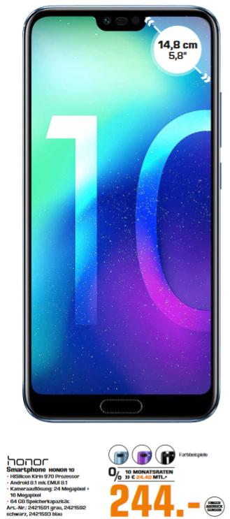 "[Lokal: Saturn Bergisch Gladbach] Honor 10 - 5.84"" Dual-SIM Smartphone (NFC, Android 8.1, 4GB RAM, 64GB, USB-C)"