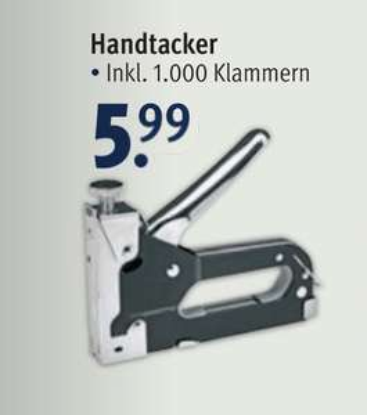 Handtacker inkl. 1000 Klammern [Rossmann offline]
