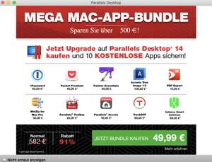[Mac] Parallels Desktop 14 Upgrade Mega Bundle für 49,99 mit 1Password, PDF Expert, WinZip Pro, Painter Essentials etc.
