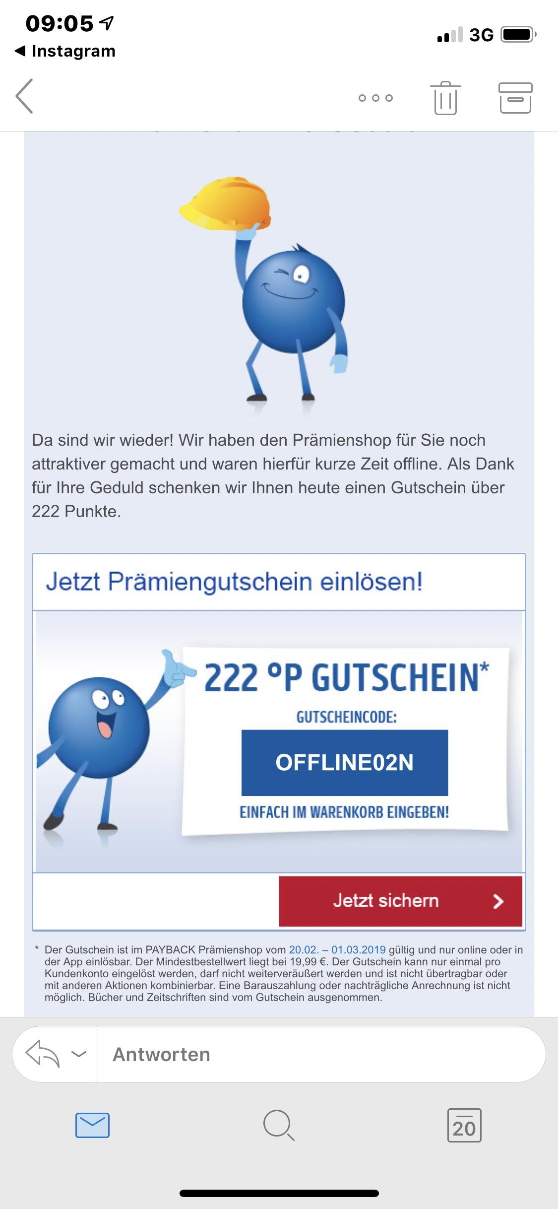 Payback Gutschein *222 P.*