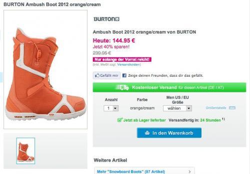 EDIT: [20€ Planet-Sports Gutschein + Lagerverkauf] Super Wintersportschnäppchen z.B. Burton Ambush 2011/2012 Snowboardschuh (Auslaufmodell) für 84,95€ (Deal Of The Day)  statt 239€