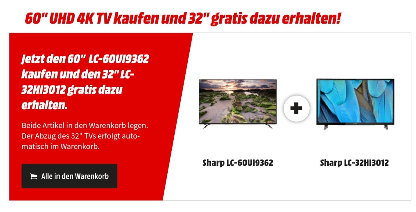 "Media Markt SHARP LC-60UI9362 LED TV (Flat, 60 Zoll, UHD 4K, SMART TV) und gratis 32"" SHARP LC-32HI3012E  dazu. Beide versandkostenfrei."