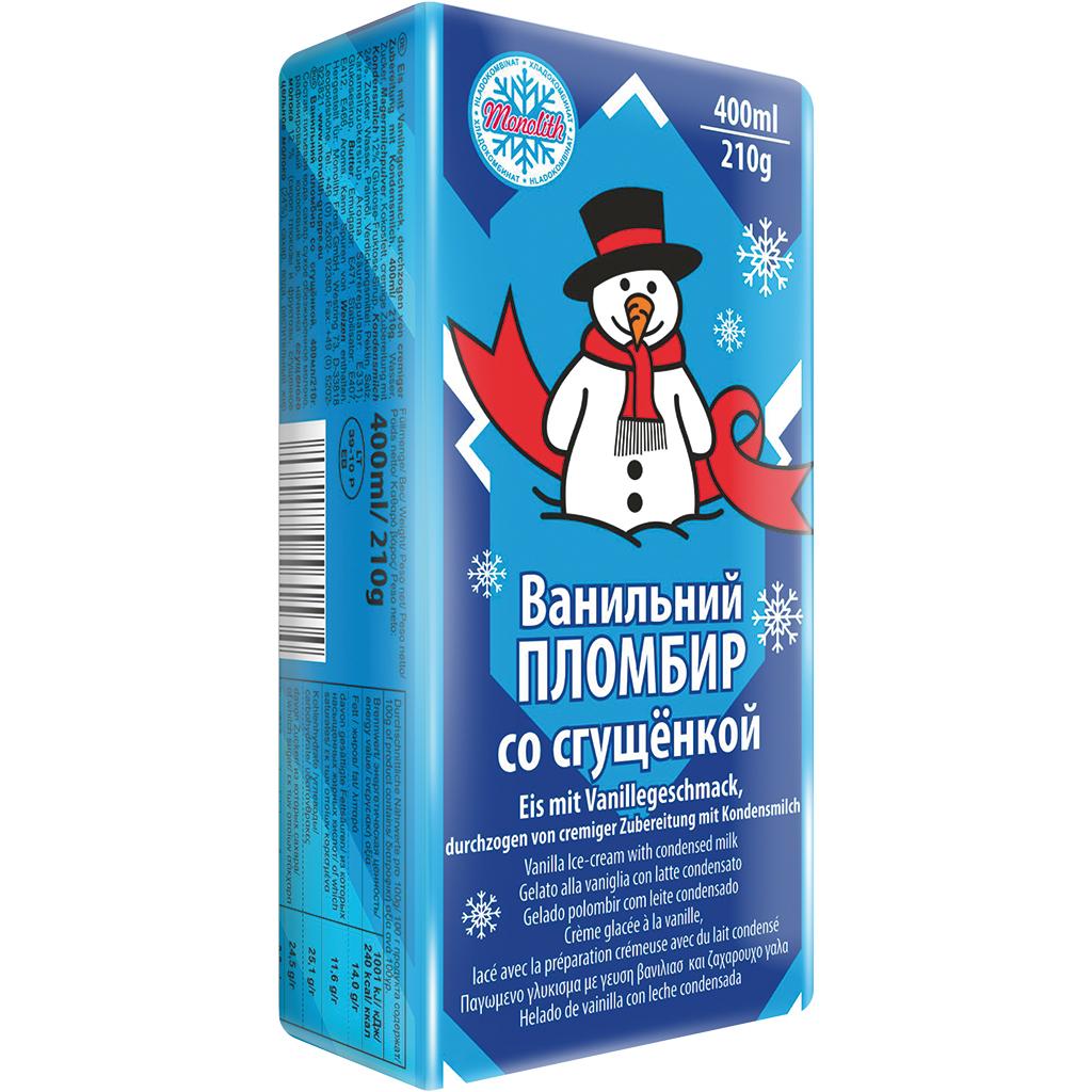 Plombir Eis mit Kondensmilchcreme 400ml [Mix Markt]